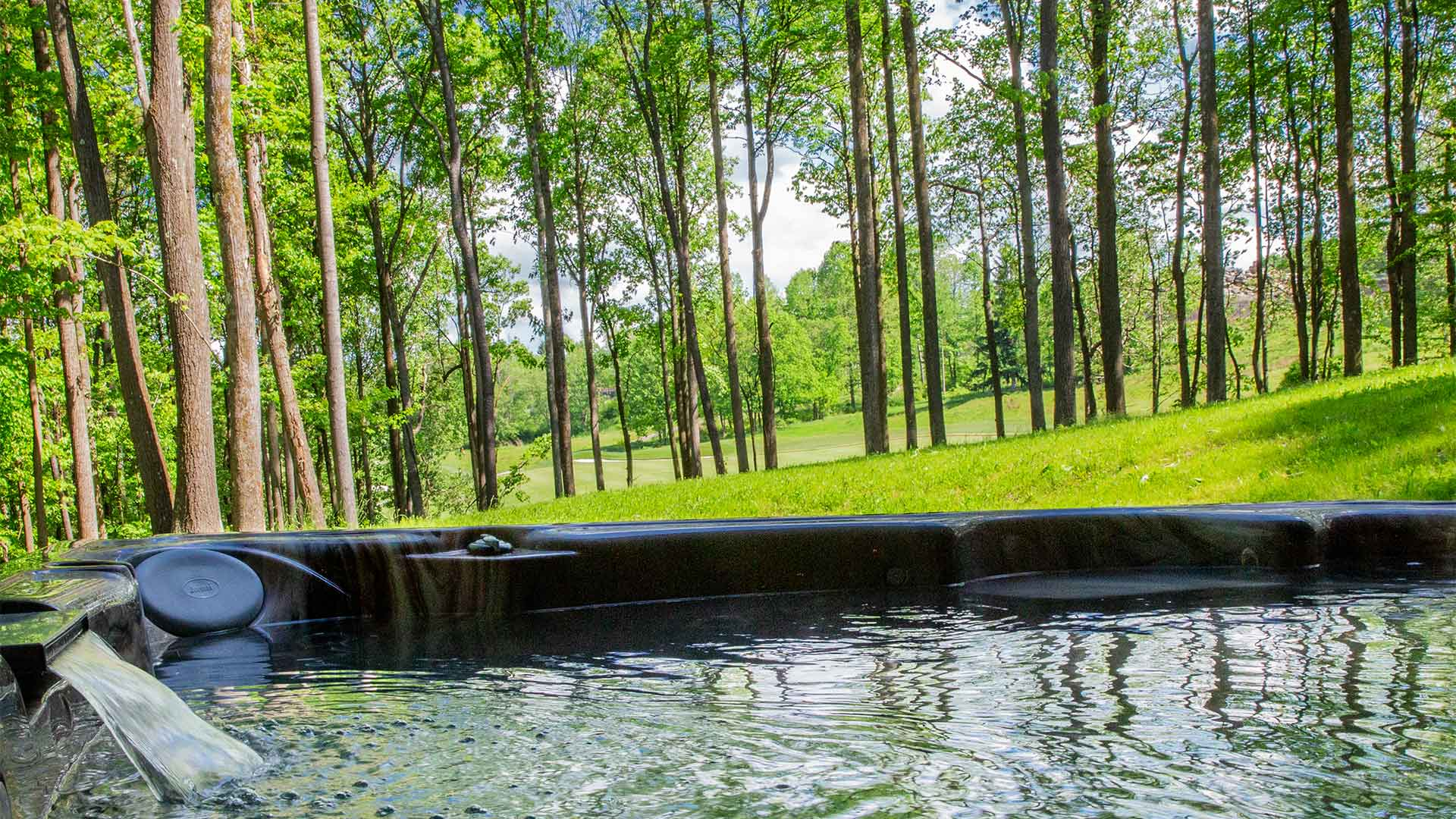 detail shot of a hot tub with lush green grass and trees in the background