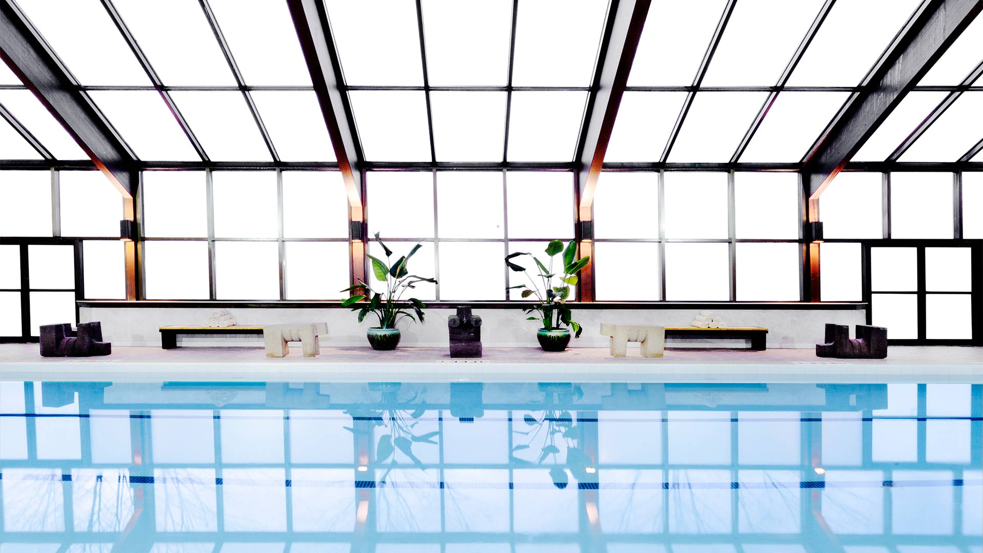 an indoor pool with ice blue water reflecting the light from the floor to ceiling window. There are benches and plants along the side of the pool