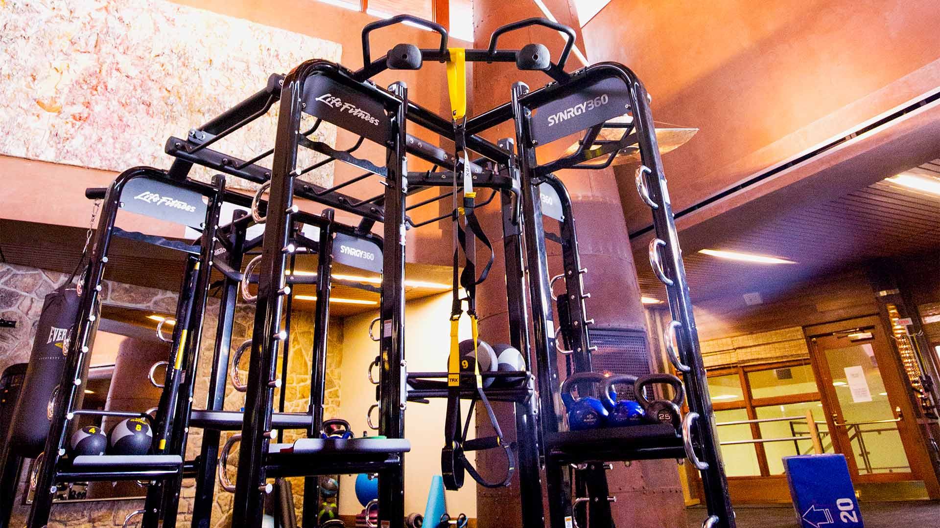 a detail shot of the high-end weight machines present at the fitness center