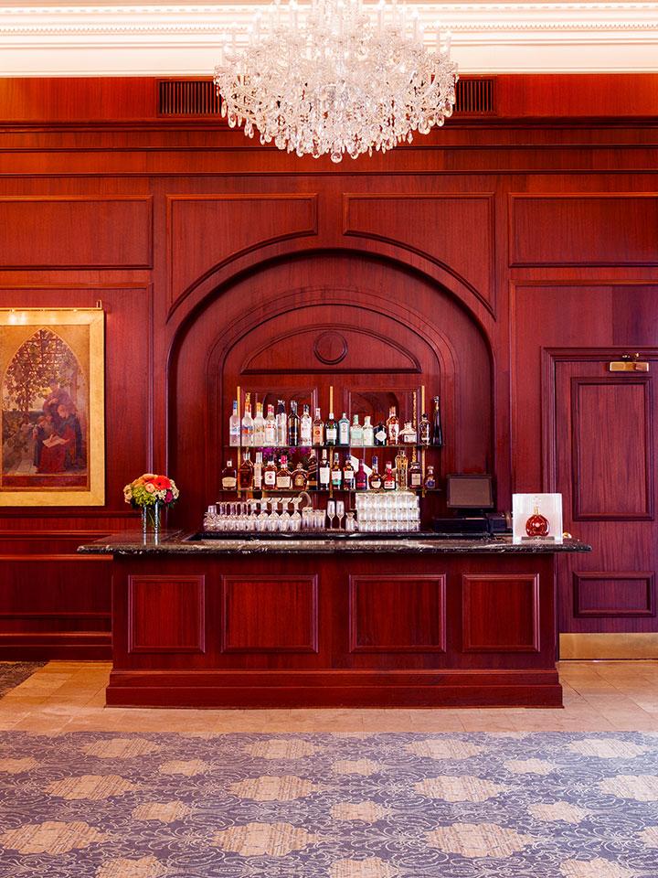 Fancy bar in front of wooden walls