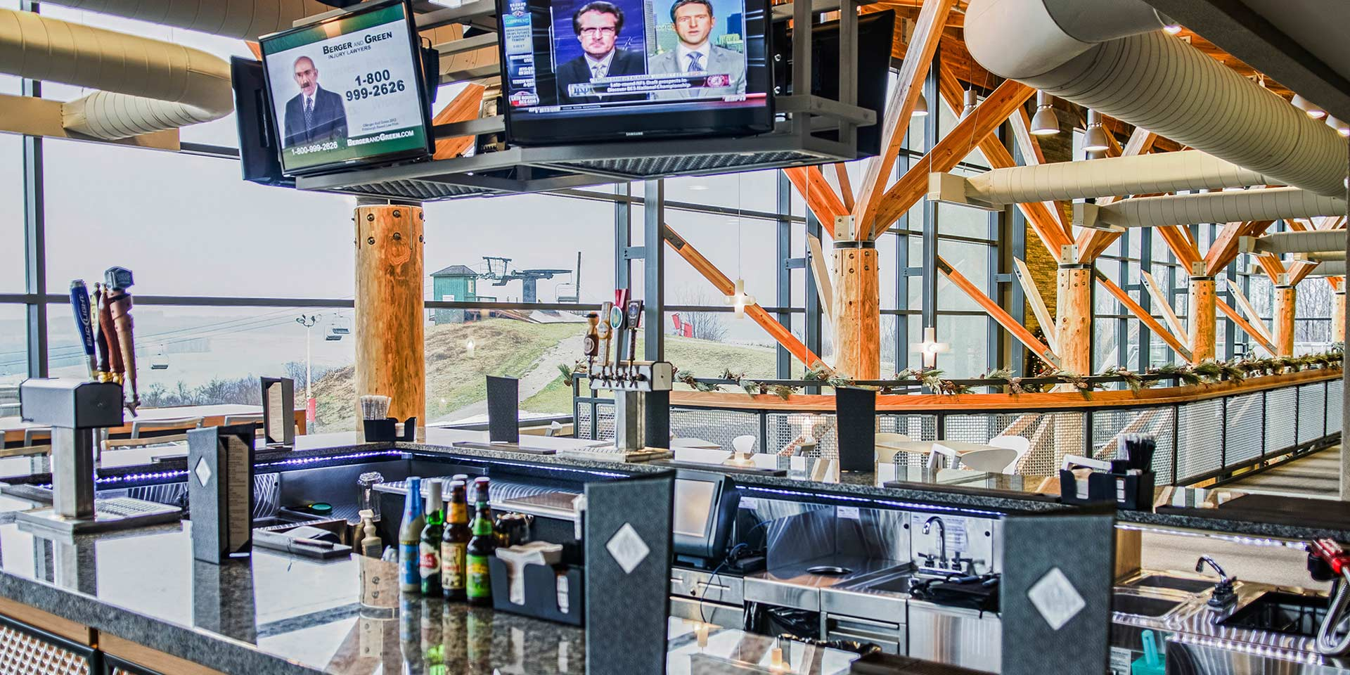 Sports bar area with tvs