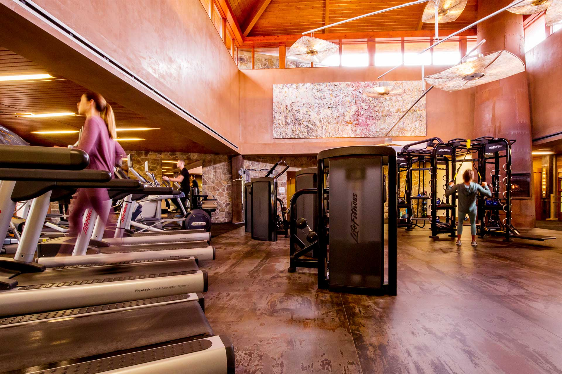 indoor gym with treadmills and weight machines