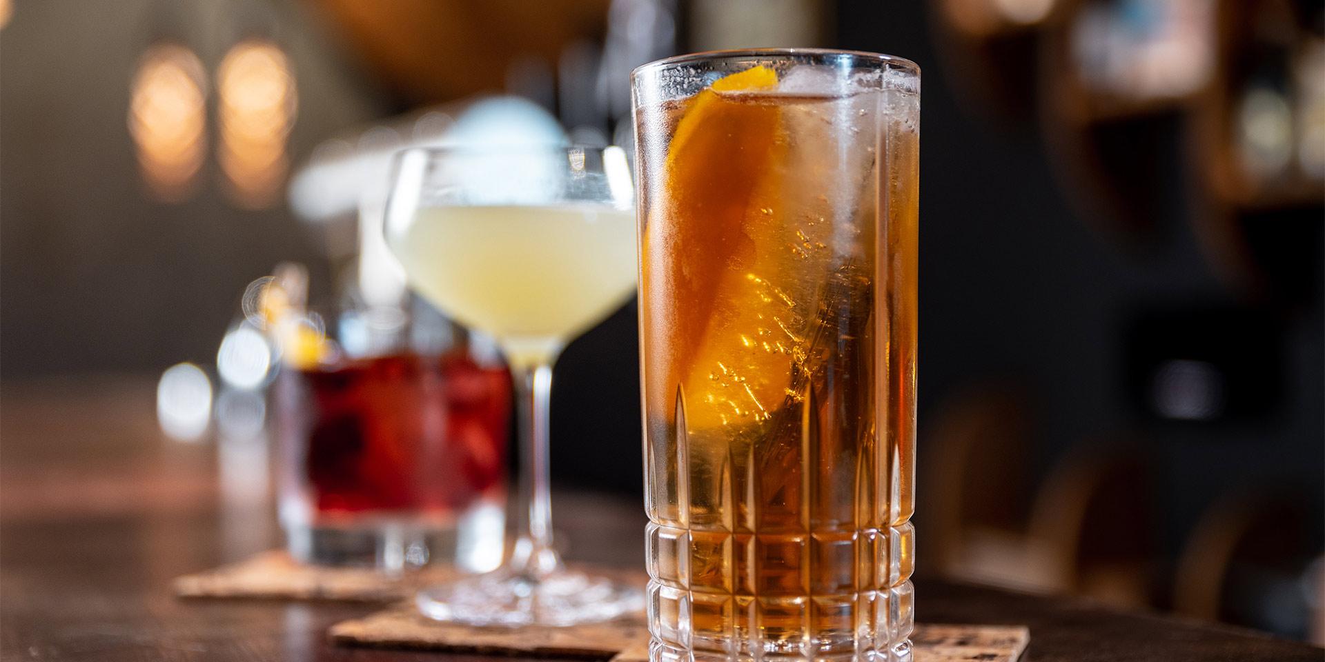 close up of three drinks