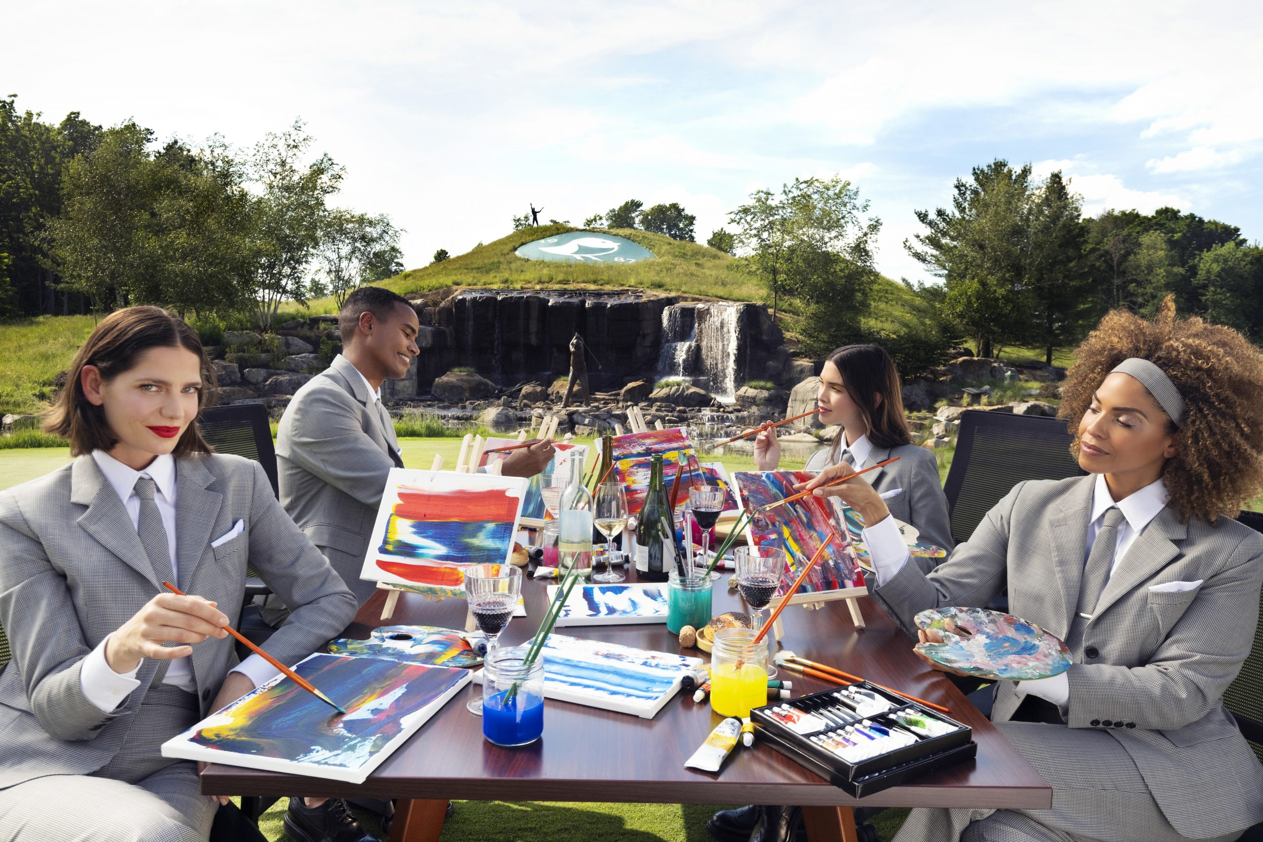 group of people painting