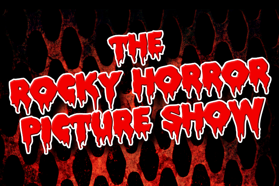 Logo for the Rocky Horror Picture Show. Red lettering dripping down like blood on a black background