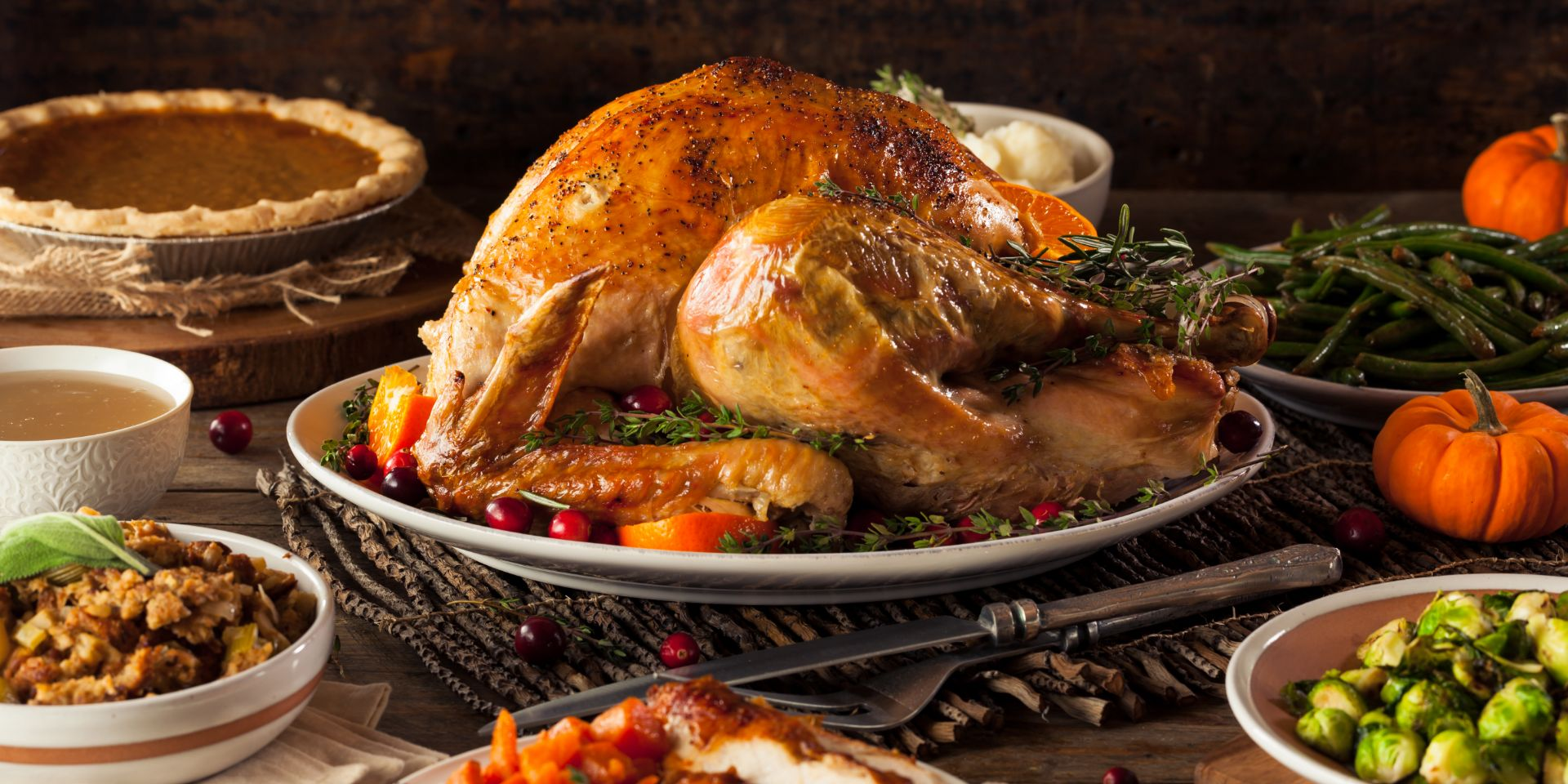 Thanksgiving meal with turkey and sides